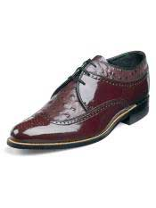 STACY ADAMS Mens Burgundy ~ Wine ~ Maroon Color Ostrich Print