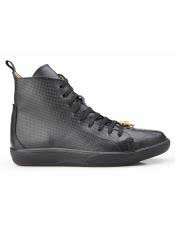 Mens Genuine Ostrich and Italian Calf Black Lace Up Sneaker Belvedere Shoe