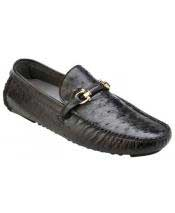 Slip On Genuine Ostrich ~ Calfskin Black Leather Casual Sneakers