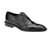 Nino Black Ostrich Eel Brogue Shoes