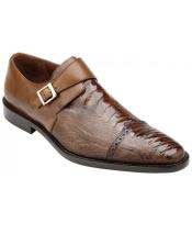 Mens Monk Strap Antique Almond Genuine Ostrich & Italian Calfskin Loafer Shoes