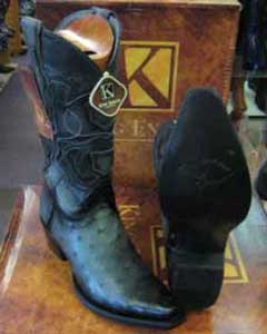 King Exotic Genuine Ostrich Skin Snip Toe Leather Piping Western Cowboy Dress