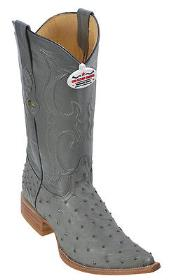 Quill Ostrich Leather Gray Los Altos Mens Western Boots Cowboy Fashion