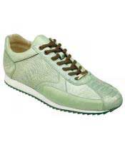 Mens Casual Genuine Ostrich Leather Pistachio LaceUp Sneakers