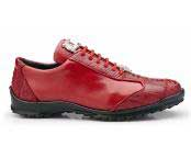 Genuine Red Ostrich and Soft Calf Leather Lining Shoe