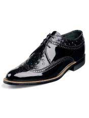 Ostrich Print Leather Upper Black Shoes
