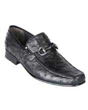 Los Altos Black Genuine Ostrich Quill Bit Loafers Shoes