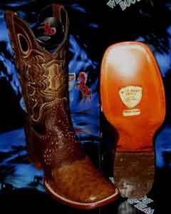 West Genuine Ostrich Square Brown Rodeo Western Cowboy Boot