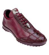 Burgundy ~ Wine ~ Maroon Color Ostrich Skin Casual Exotic Sneaker