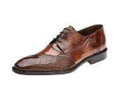 Belvedere Nino Camel Ostrich Eel Brogue Shoes