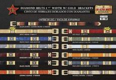Ostrich Leg Belt 15 Width w/Gold Brackets