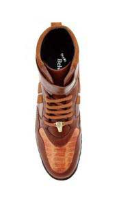 Mens Honey Ostrich Skin Casual Sneakers