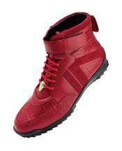Tennis Sneaker Shoes Mens Red Ostrich Skin Casual