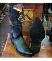 King Exotic Genuine Ostrich Snip Toe Western Cowboy Gray Boot
