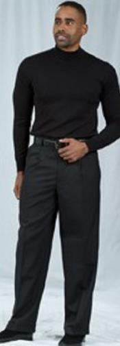 Black Pleated Baggy Fit Dress Pant unhemmed unfinished bottom