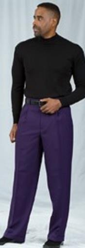 Dark Purple Pleated Baggy Fit Dress Pants