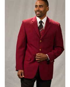 Pacelli Jackson Classic Three buttons Notch Lapel Blazer Jacket Burgundy ~