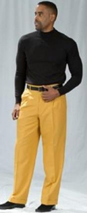 Mustard Pleated Baggy Fit Dress Pants