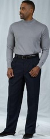 Navy Pleated Baggy Fit Dress Pants Unhemmed Unfinished Bottom