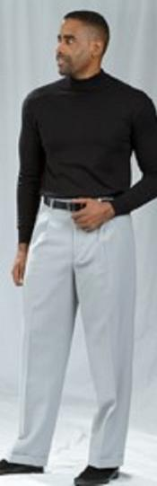 Crystal Silver Pleated Baggy Fit Dress Pants unhemmed unfinished bottom