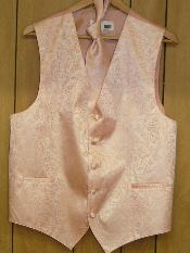 PEACH DRESS TUXEDO WEDDING Vest ~ Waistcoat ~ Waist coat & TIE