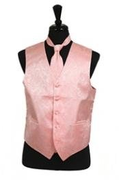 Tuxedo Vest - Wedding Vest Peach  paisley tone on tone Waist
