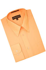 Peach Cotton Blend Dress Shirt With Convertible Cuffs