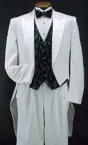 White Classic Fashion Basic Full Dress Tailcoat with Peak Lapel Tuxedo
