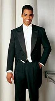Full Dress Black Tailcoat with Peak Lapel Tuxedo Jacket with the tail suit