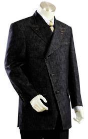 Victorian Victorian Side Buttoned Denim Flap Pocket Black Zoot Suit