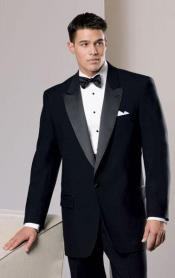 Mens 100% Worsted Wool Tuxedo with Peak Lapel