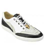Mens Lace Up Genuine Ostrich ~ Soft Calf Pearl ~ White ~Black Casual Sneakers