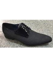 Mens  Black / White Pin Dot Pattern Genuine Leather Lace Up Zota Shoes