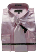 Cheap Priced Sale Mens New Pink Satin Dress Shirt Combinations Set Tie Combo Shirts