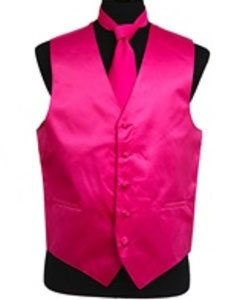Tuxedo Wedding Vest ~ Waistcoat ~ Waist coat Tie Set Hot Pink Buy 10 of same color