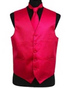 Rib Pattern Dress Tuxedo Wedding Vest Tie Set Hot Pink