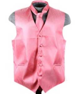 Tuxedo Wedding Vest ~ Waistcoat ~ Waist coat Tie Set Salmon