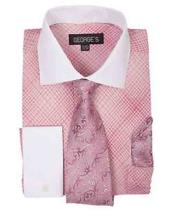 French Cuff Mini Plaid/Checks Rose Pink Dress Shirt With Tie And