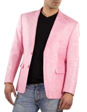 Alberto Nardoni Brand Mens One Ticket Pocket Thread & Stitch 100% Linen Pink Blazer