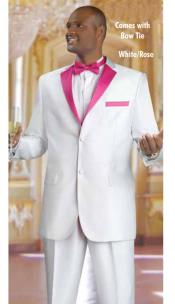 Mens 2 Piece 2 Button Tuxedo Suit White With rose pink Fuchsia ~ fuschia ~ hot Pink