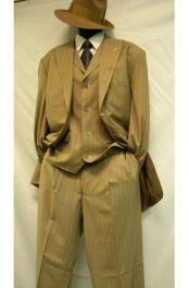 Mens 3 Piece Bold ~ Chalk ~ Gangster Pinstripe ~ Stripe Tan/White Zoot Suit