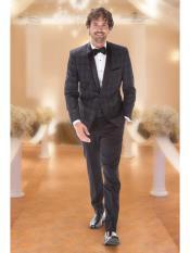 Mens Plaid Designed Modern Slim Fit Black Wedding Tuxedo