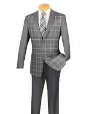 Mens Plaid ~ Windowpane Slim Fit gray Blazer ~ Sport Jacket