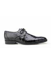 Lago Mens Black Plain Toe Genuine World Best Alligator ~ Gator Skin Tassel Laces Belvedere Shoe