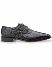 Mens Black All Over Laceup Plain Toe Crocodile Skin Shoes