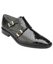 Mens Plain Toe Genuine World Best Alligator ~ Gator Skin Double Monk Strap Black Loafer Shoes