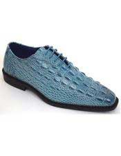 Mens Stylish Plain Toe Oxford Gator Print Denim Blue Dress Shoes