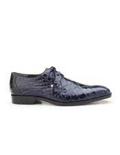 Mens Navy Plain Toe Genuine World Best Alligator ~ Gator Skin