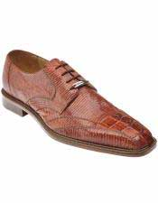 Belvedere Mens Hornback Pointed Toe Laceup Style Lizard Cognac Shoes