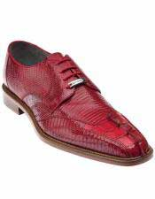 Belvedere Mens Leather Hornback Pointed Toe Red Laceup Style Lizard Shoes